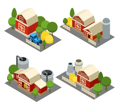 granary: Farm building isometric icons set with tractor house and trees isolated vector illustration