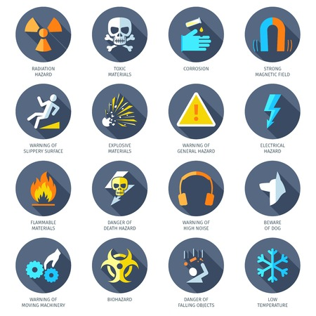 dangers: Chemical electrical radiation and other dangerous hazard icons flat set isolated vector illustration