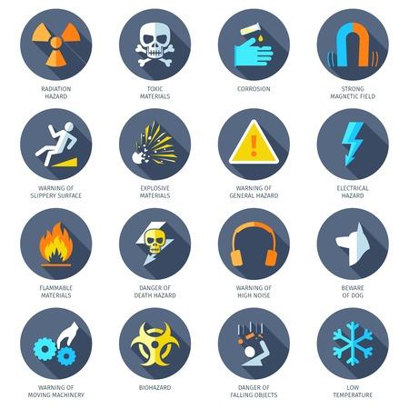 peligro: Radiaci�n el�ctrica qu�mica y otros peligros peligroso iconos plana conjunto aislado ilustraci�n vectorial Vectores