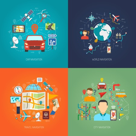 city location: Map design concept set with city and world navigation flat icons isolated vector illustration Illustration