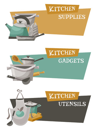 titles: Kitchen utensils icons set with gadgets supplies and titles flat isolated vector illustration