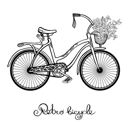 flower basket: Hand drawn retro bicycle with flower basket isolated on white background vector illustration