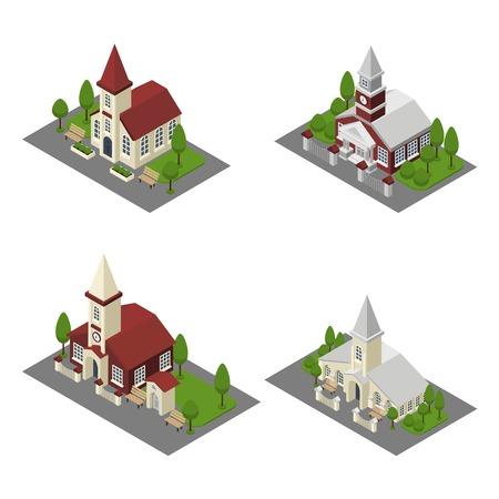 church: Iglesia 3d construcción y isométricos catedrales y capillas aisladas ilustración vectorial
