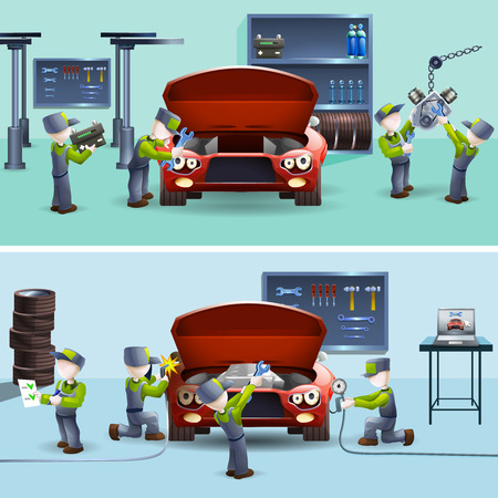 two car garage: Auto service garage fast  reliable teamwork two flat banners set with car maintaining abstract vector isolated illustration