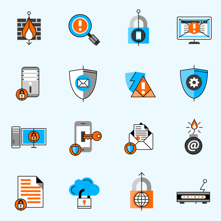computer icons: Data security line icons set with antivirus computer and mail flat isolated vector illustration