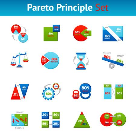 quadrati astratti: Potente Pareto principio 80 20 regola per i risultati di business icone piane set piazza illustrazione vettoriale astratto isolato