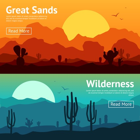 desert sun: Desert horizontal banner set with cactus plants isolated vector illustration