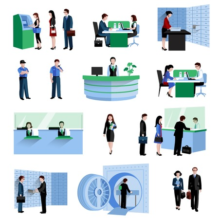 waiting in line: Bank people customers and staff decorative icons flat set isolated vector illustration Illustration
