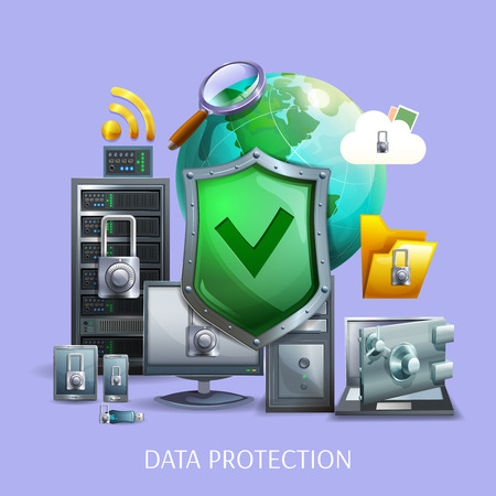 computer attack: Data protection and storage concept with laptop computer and smartphone on violet background cartoon vector illustration
