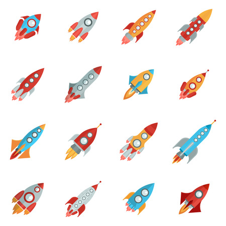 bright space: Flying bright space rocket icons set with launch and fire flat isolated vector illustration