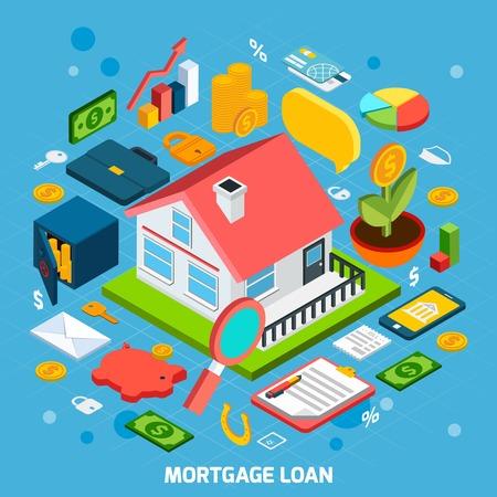 Concepto de préstamos hipotecarios con la casa y banca iconos isométricos establecer ilustración vectorial