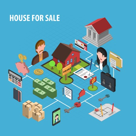 rent house: Real estate sale concept with isometric realtors figures vector illustration