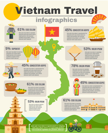 tours: Vietnam travel infographic set with map flag and mountains flat vector illustration Illustration