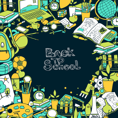 sketch book: Back to school frame with hand drawn education elements vector illustration