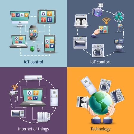 smart object: Internet of things  iot smart home comfort 4 flat icons composition square banner abstract isolated vector illustration