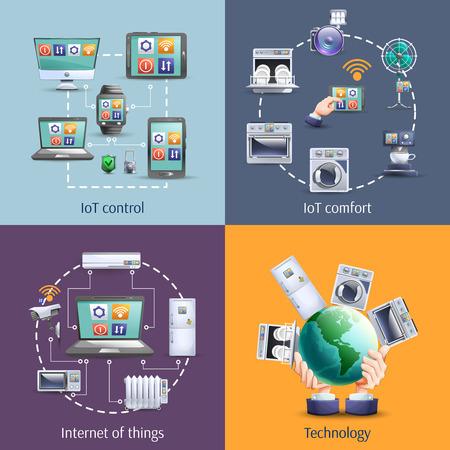 Internet van de dingen IOT smart home comfort 4 vlakke pictogrammen samenstelling vierkante banner abstract geïsoleerde vector illustratie Vector Illustratie