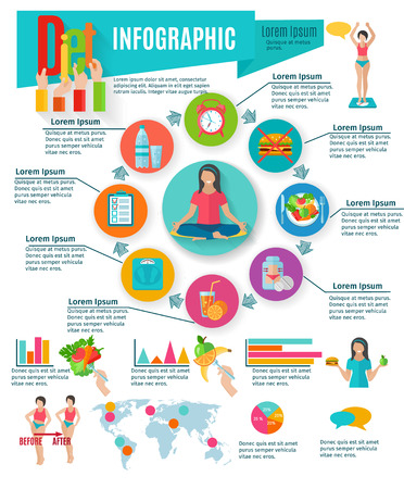 Healthy life diet and weight maintain choices statistic charts infographic presentation layout design abstract isolated vector illustration