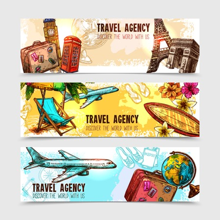 여행: Travel horizontal banner set with sketch landmarks and vacation elements isolated vector illustration