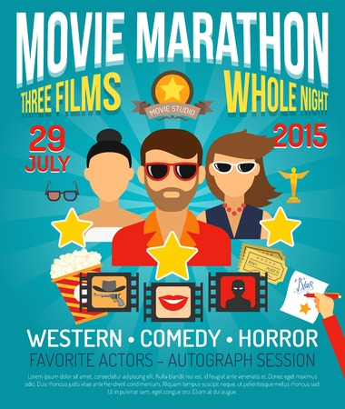 movie and popcorn: Movie marathon promo poster with actors portraits flat vector illustration Illustration