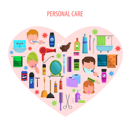personal care: Personal morning care products set for romantic valentine day in heart form poster flat abstract  vector illustration