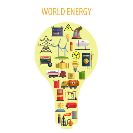 World energy and power lamp concept with windmills batteries and gas stations flat vector illustration