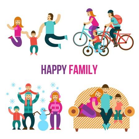 divercio n: Diversión de la familia establece con la gente feliz saltando sentado en el sofá en una bicicleta aislada plana ilustración vectorial