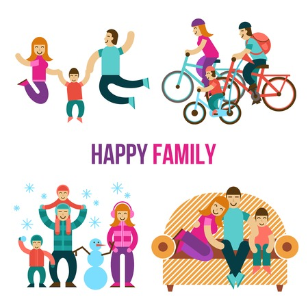 fun: Family fun set with happy people jumping sitting on couch riding a bicycle flat isolated vector illustration