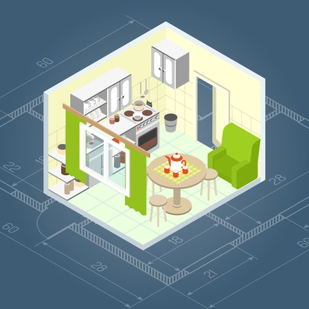 dining table: Kitchen interior isometric with 3d home furniture icons vector illustration