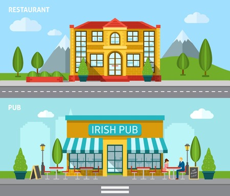 restaurant exterior: Cafe building front view flat horizontal banner set isolated vector illustration