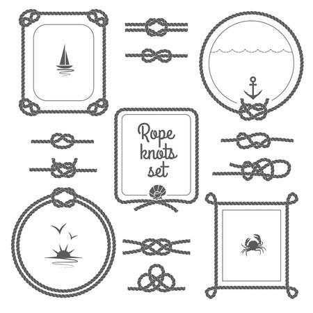 Ronde en vierkante touw frames en diverse knopen zwart-wit geïsoleerd set vector illustratie Stock Illustratie