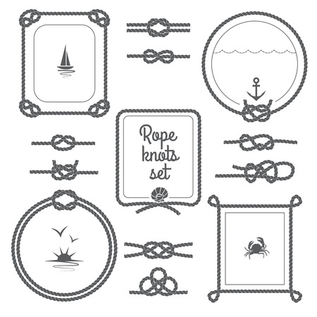 on the ropes: Round and square rope frames and various knots black and white set isolated vector illustration