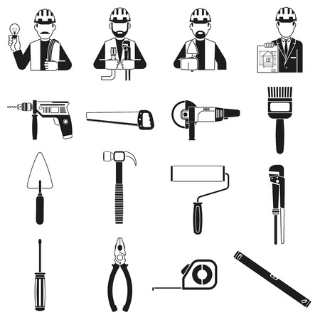 construct: Construct black icons set with clamp hammer engineers characters isolated vector illustration Illustration