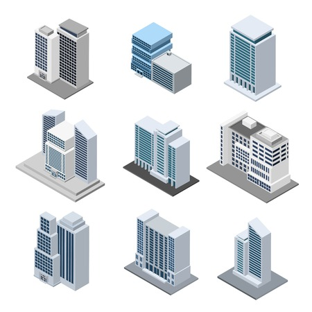Office building isometric with 3d skyscrapers icons isolated vector illustration