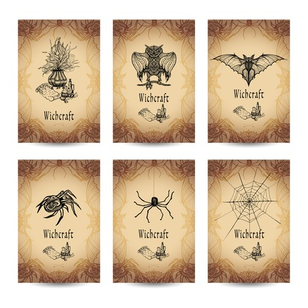 witchcraft: Vintage witchcraft vertical banner set with spooky animals isolated vector illustration