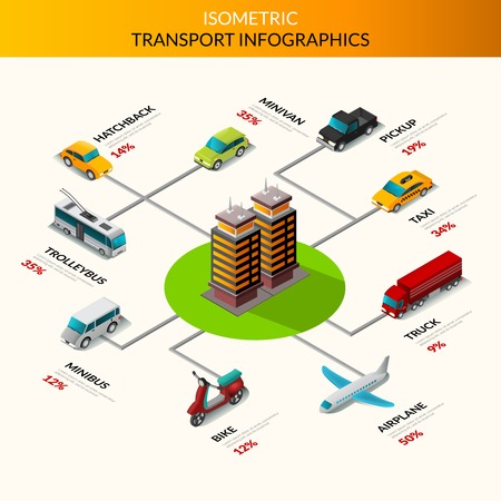 public transport: Isometric transport infographics with cars trucks and public transport with building in the middle vector illustration Illustration