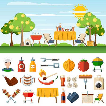salchichas: Barbacoa Familia de picnic en los banners horizontales campo establecidos con accesorios bbq pictogramas abstracta ilustración aislado ilustración