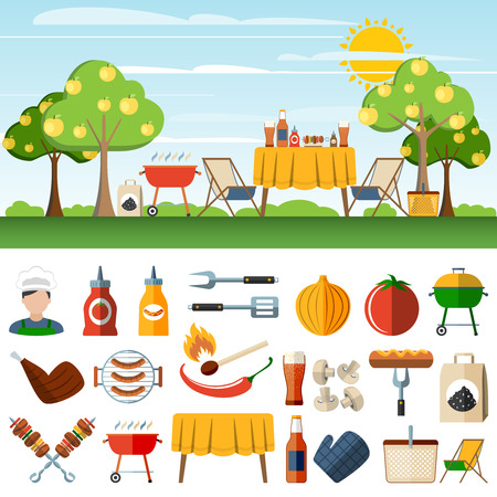 bbq: Family barbeque picnic in the countryside horizontal banners set with  bbq accessories pictograms abstract vector isolated  illustration