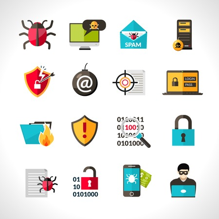 virus: Cyber virus hacking protection and security icons set isolated vector illustration Illustration