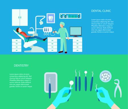 Tandheelkundige instrumenten arts en kliniek scène plat horizontaal kleur banner set geïsoleerd vector illustratie Stock Illustratie