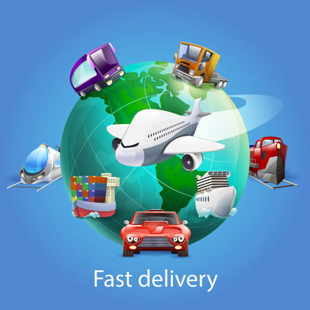 train icon: Fast delivery cartoon concept with globe plane car and ship on blue background vector illustration