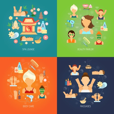 massage huile: Concept de Spa réglé avec soin et massage icônes plates isolé illustration vectorielle