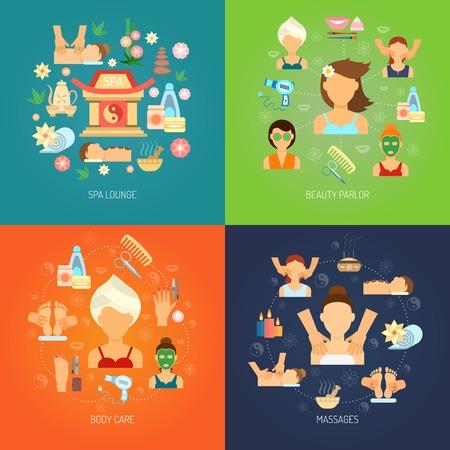Koncepcja spa zestaw z pielęgnacji ciała i masażu płaskie ikony samodzielnie ilustracji wektorowych