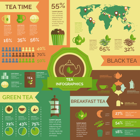 time table: Green and black tea consumption and statistic teatime customers around world infographic layout chart poster vector illustration
