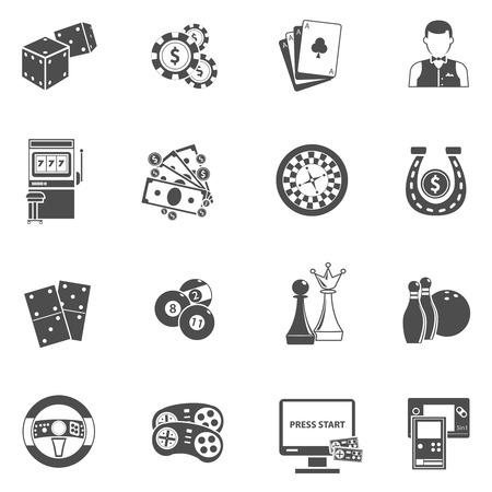roulette: Sitio móvil ordenador para la máquina de juegos de azar jugar ruleta en línea iconos negros fijaron aislado abstracta ilustración vectorial