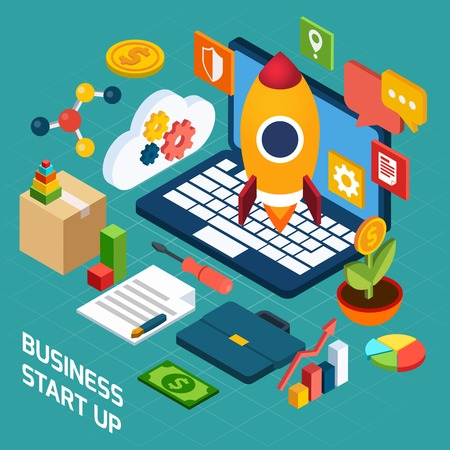 mobile advertising: Digital marketing isometric concept with 3d notebook and startup icons vector illustration Illustration