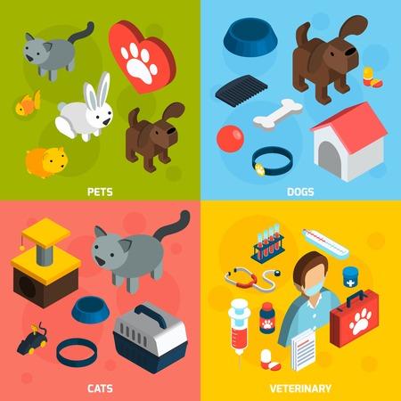 veterinaria: Mascotas concepto de diseño veterinaria conjunto con perros y gatos iconos isométricos aislado ilustración vectorial Vectores