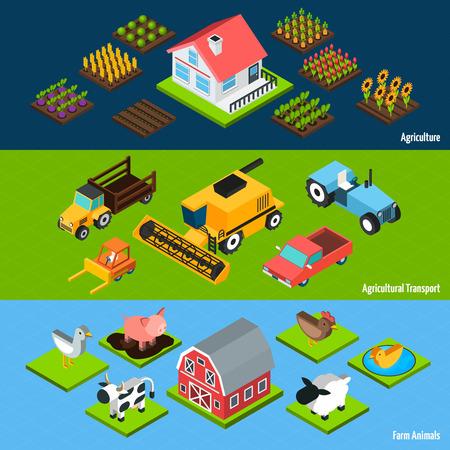 granja: Animales de granja agrícola y maquinaria de transporte agrícola y tractores banners horizontales isométricos conjunto abstracto aislado ilustración vectorial Vectores