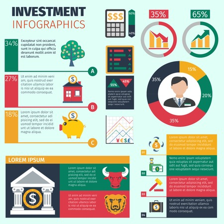 financial symbols: Investment infographics set with financial symbols and charts vector illustration