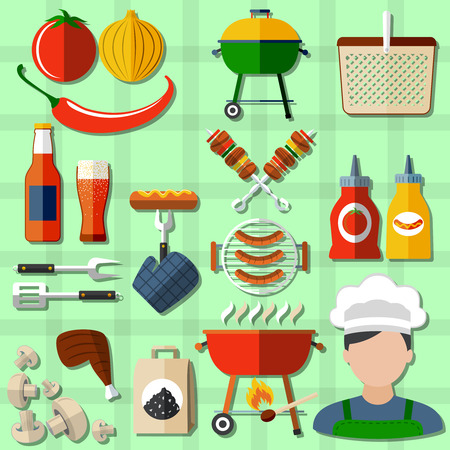 grill: Barbecue and picnic icons set with sausages vegetables and beer on green background flat isolated vector illustration