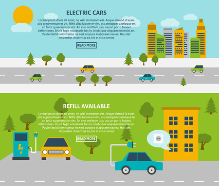 electric car: Electric car and refill available or charging station flat color horizontal banner set isolated vector illustration